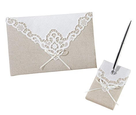 Rustic Country Lace Wedding Guest Book Pen Set