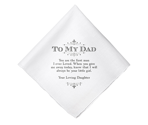 Dad Wedding Gift White Cotton Keepsake Hankie