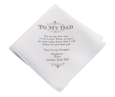 Personalized Dad Wedding Gift White Cotton Hankie