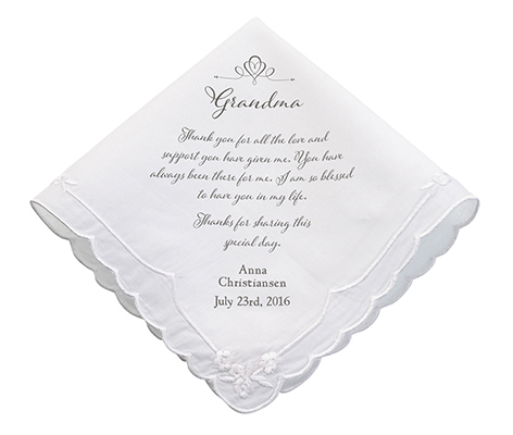 Personalized Grandma Verse Wedding Keepsake Hankie
