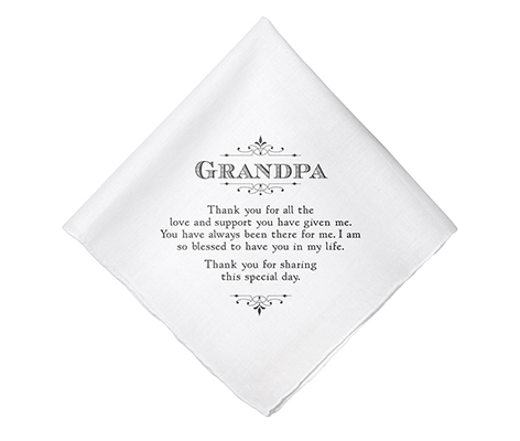 Grandpa Verse Wedding Gift White Cotton Keepsake Hankie