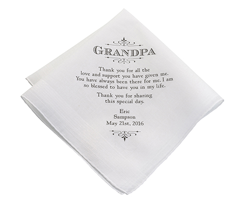 Personalized Grandpa Verse Wedding Gift Hankie