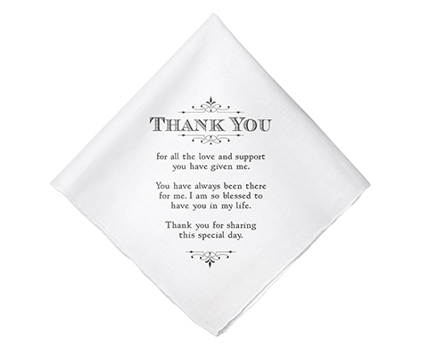 Men's Thank You Verse Wedding Gift Keepsake Hankie