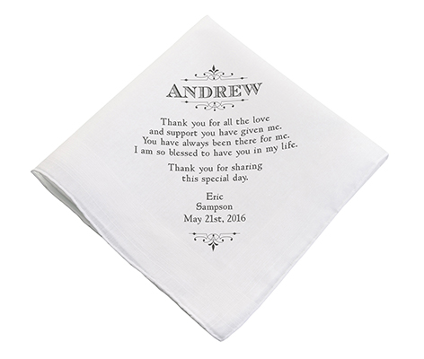 Personalized Men's Thank You Wedding Gift Hankie