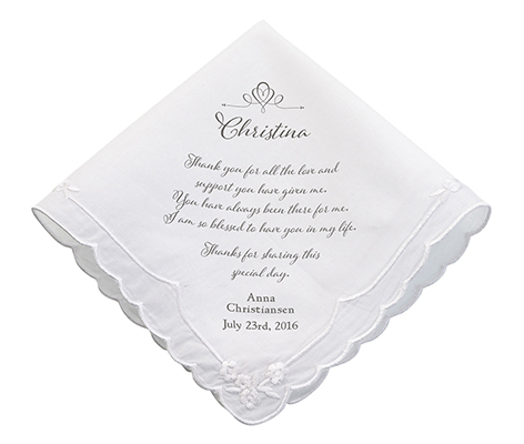 Personalized Women's Thank You Wedding Gift Hankie