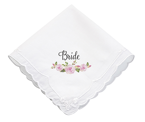 Watercolor Flower Bride Wedding Gift Hankie