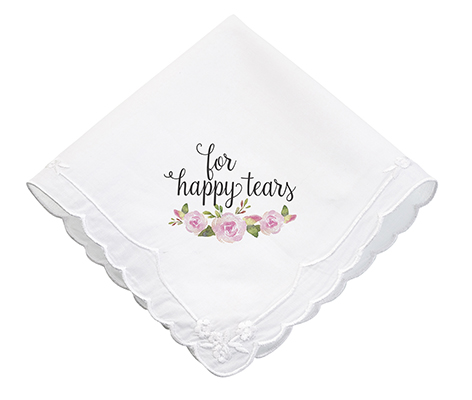 Watercolor Flower Happy Tears Wedding Gift Hankie