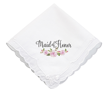 Watercolor Flower Maid of Honor Wedding Hankie