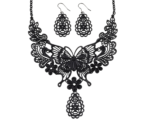 Black Wedding Jewelry Butterfly Necklace Earrings