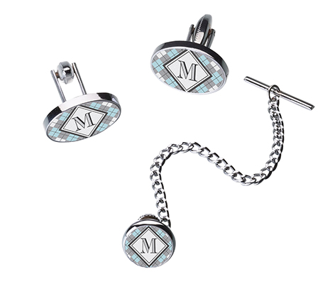 Monogram Argyle Cufflinks Tie Tack Set