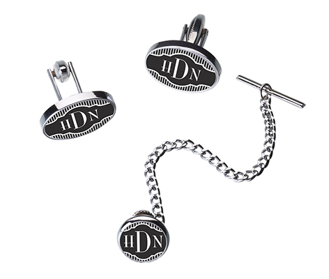 Black Band Monogram Cufflinks Tie Tack Set