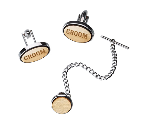 Groom Wood Cufflinks & Tie Tack Set
