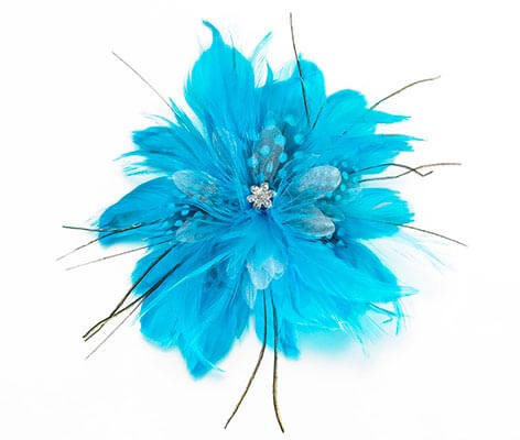 Aqua Blue Feather Flower Hair Accessories Clip