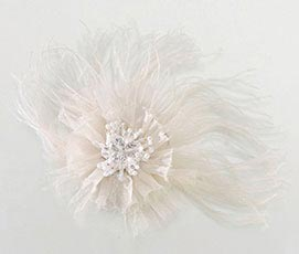 Ivory Marabou Feather Hair Clip Dress Accessories