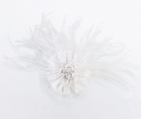White Marabou Feather Hair Clip Dress Accessories