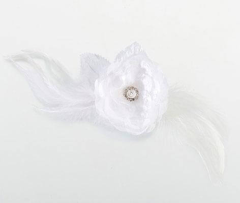 Vintage Lace White Feather Hair Clip Accessories