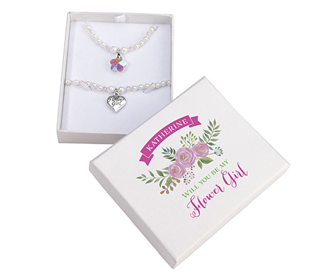 Personalized Flower Girl Necklace Bracelet Gift