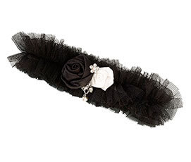 Black Tulle Jewel Sparkly Prom Wedding Garter