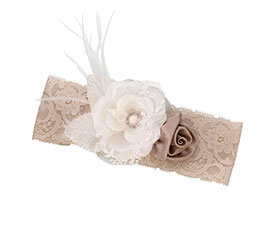 Vintage Lace Taupe Tan Prom Wedding Garter