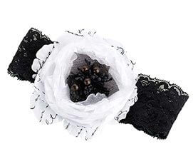 Black and White Flower Prom Wedding Garter