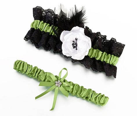 Lime Green and Black Feather Wedding Garter Set