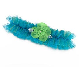 Fancy Blue Green Tulle Prom Wedding Garter