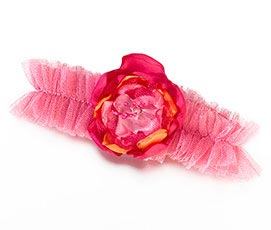 Fancy Hot Pink Orange Tulle Prom Wedding Garter