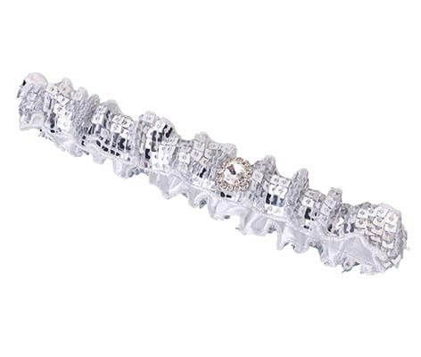 Sparkly Sequin Silver Prom Wedding Garter