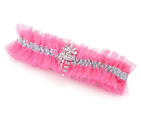Sparkly Jeweled Rhinestone Tulle Hot Pink Garter