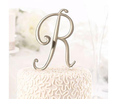 Gold Monogram Letter Cake Topper