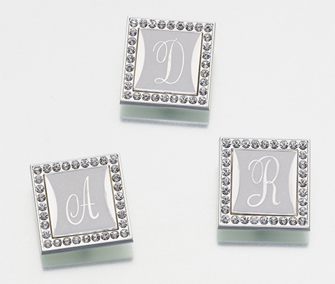 Monogram Letter Clip with Rhinestone Frame