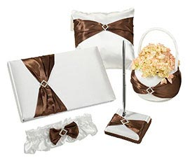 Matching Brown Satin Wedding Accessory Set