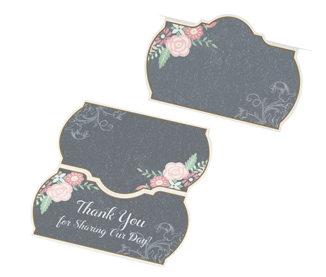 Vintage Chalkboard Flower Wedding Table Name Cards