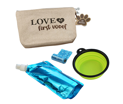 "Dog Travel Kit ""Love at First Woof"""