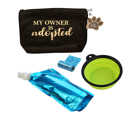 "Dog Travel Kit ""My Owner is Adopted"""