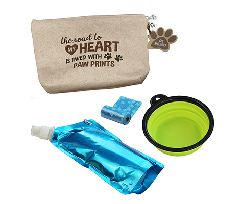 "Dog Travel Kit ""Road to My Heart is Paved with Paw Prints"""