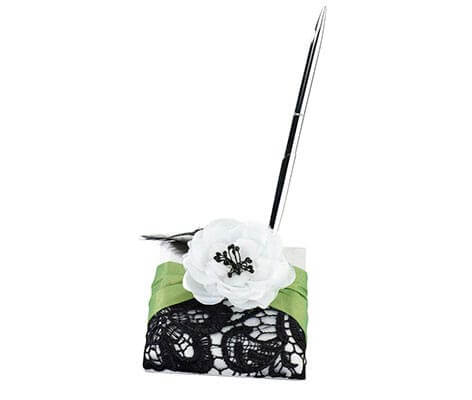 Green Black Lace Flower Wedding Guest Book Pen