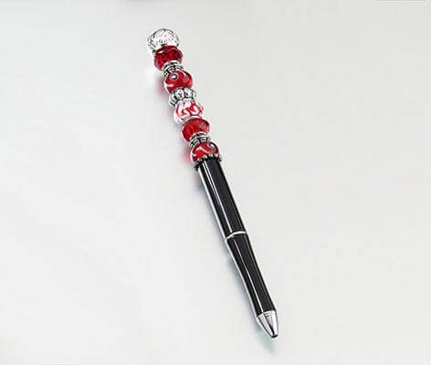 Red Removable Crystal Glass Beads Pen DIY