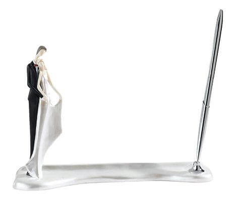 Guest Book Holder and Pen Bride Groom Figurine