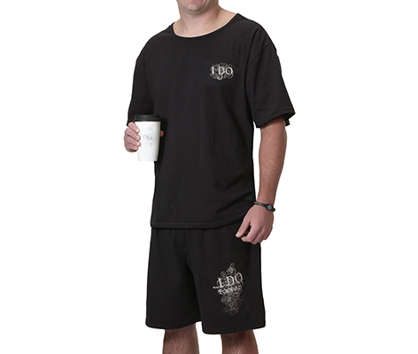 Men's Groom Pajamas Black Shirt and Shorts
