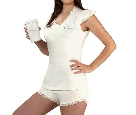 Women's Bride Pajamas White Lacy Shirt and Shorts