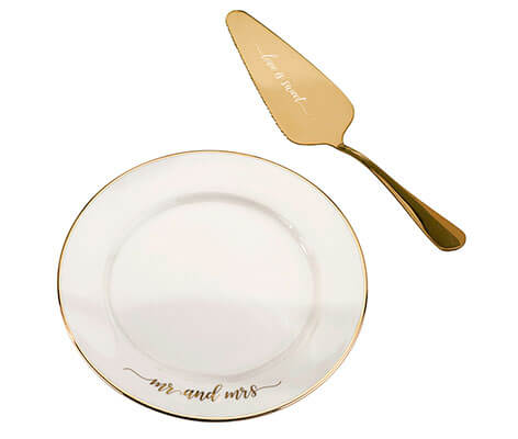 Mr and Mrs Cake Plate and Server Wedding Cake Knife Alternative Set