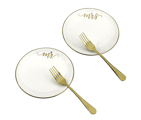 Mr and Mrs Cake Plates with 2 Forks Wedding Cake Ceremony Alternative Set