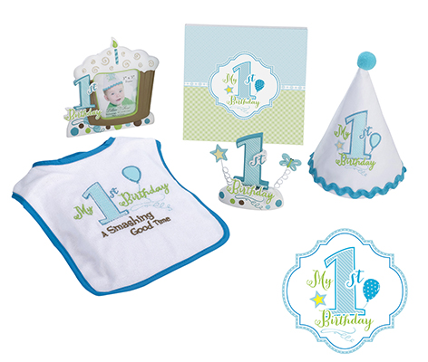 Blue Boy First Birthday Party Theme Decor Bib Set