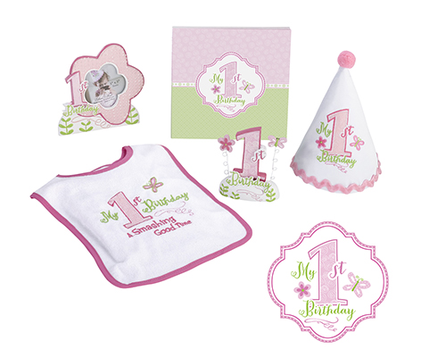Pink Girl First Birthday Party Theme Decor Bib Set