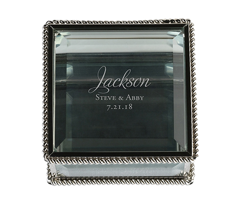 Personalized Vintage Square Glass Wedding Ring Box