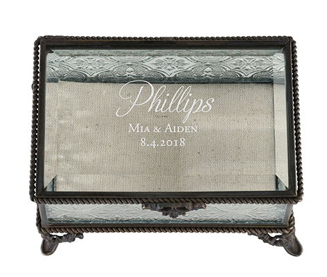 Personalized Rustic Rectangular Glass Ring Box