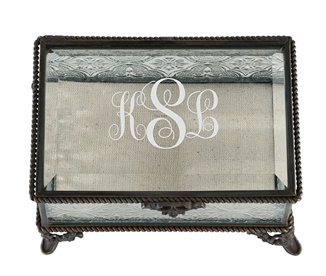 Personalized Rustic Monogram Glass Ring Box