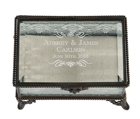 Personalized Rectangular Glass Wedding Ring Box