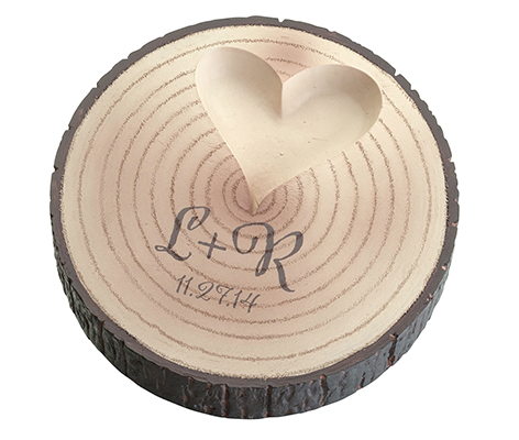 Personalized Initials Wood Slice Tree Ring Holder